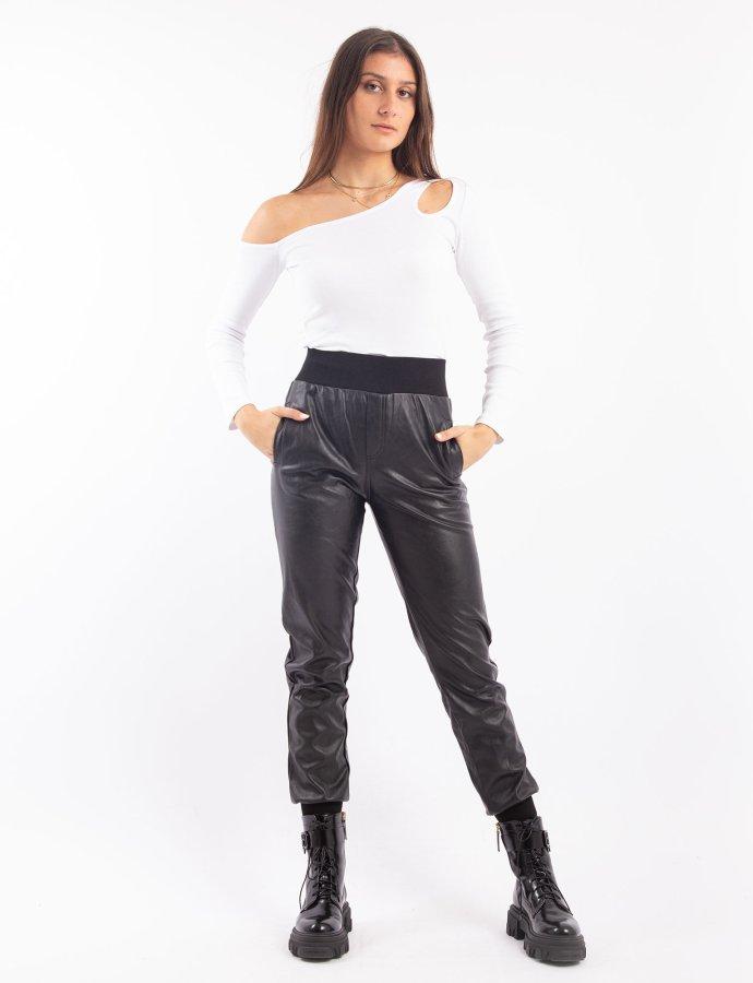 Vegan leather jogger pants black