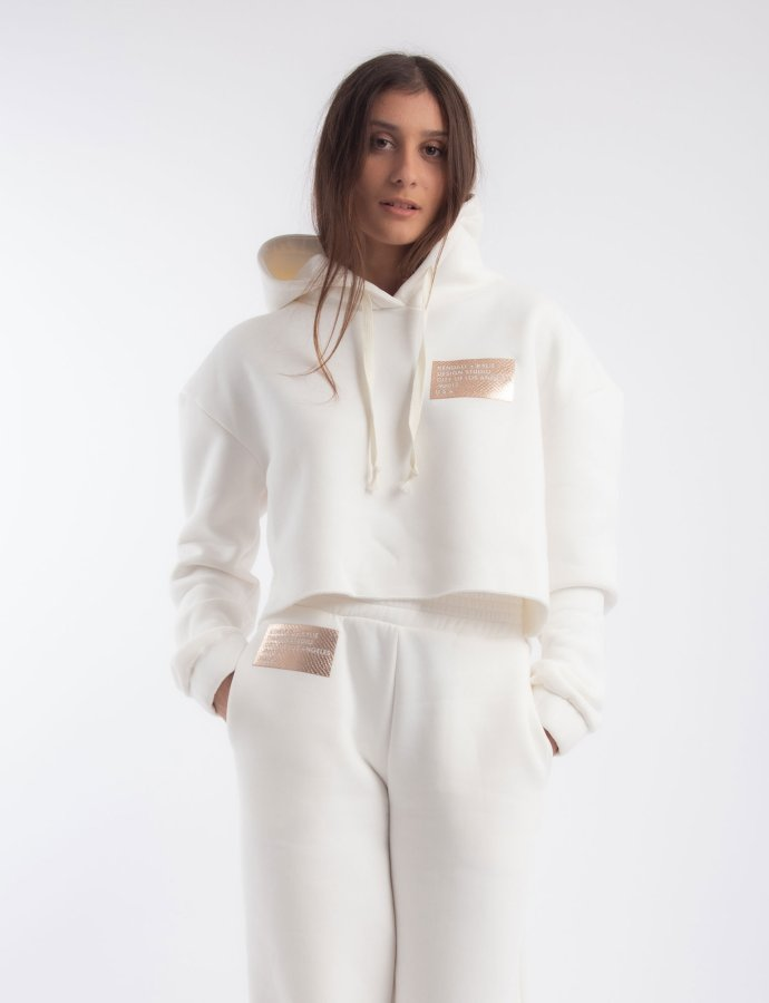 Active hoody sweater cropped off-white