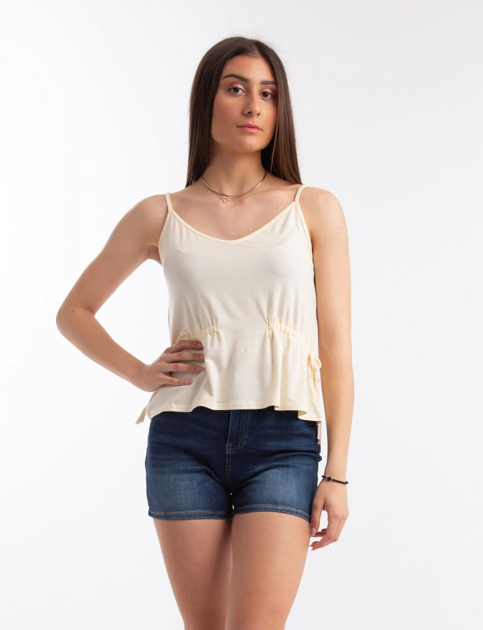 Cami top with drawstring waist