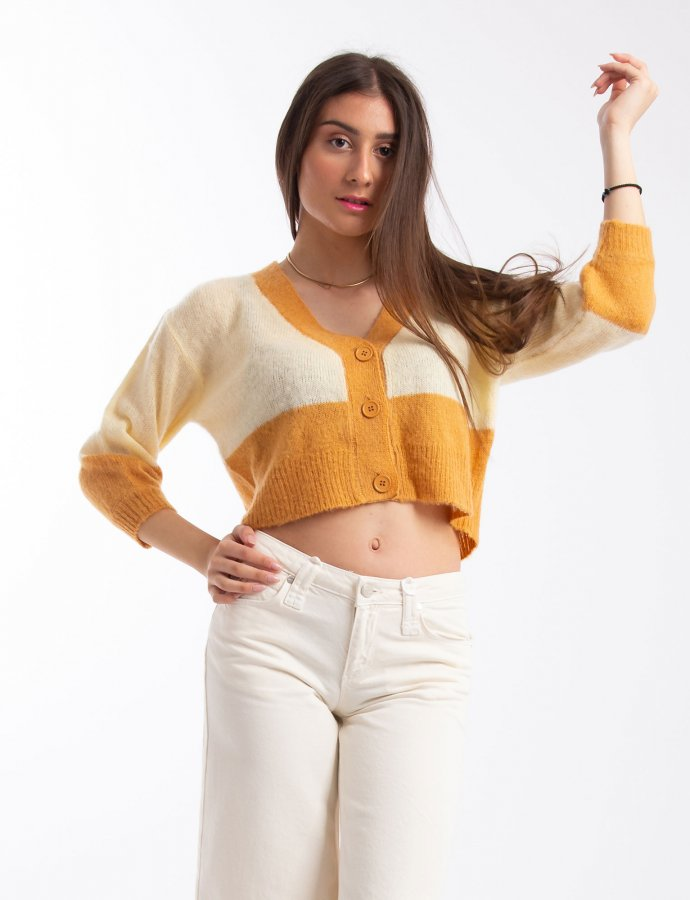 Block cropped cardigan