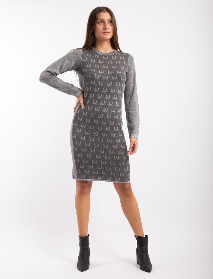 Dress with jacquard logo grey