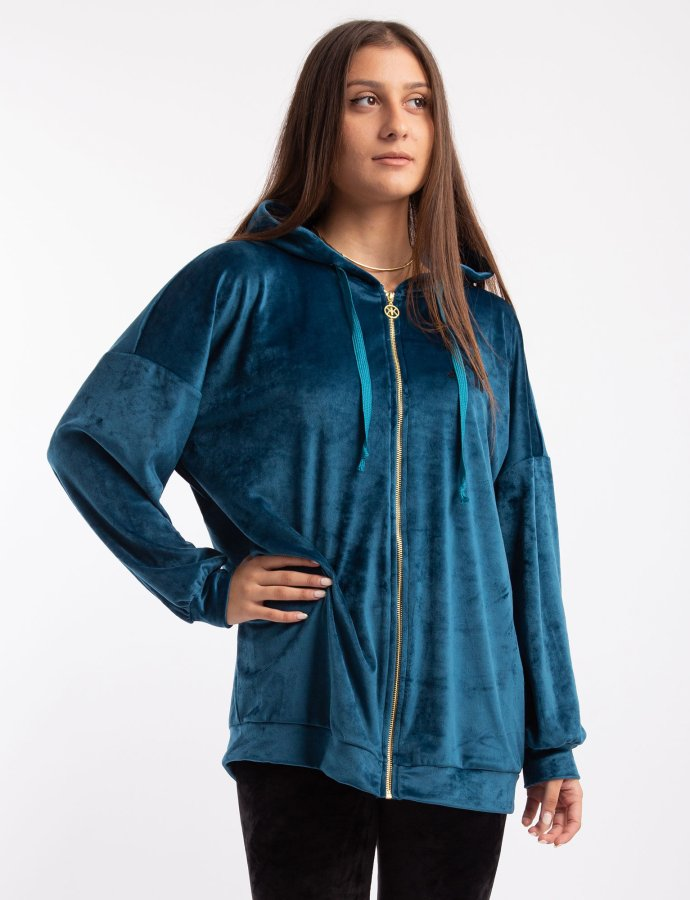 Active velvet oversized zipper hoody blue