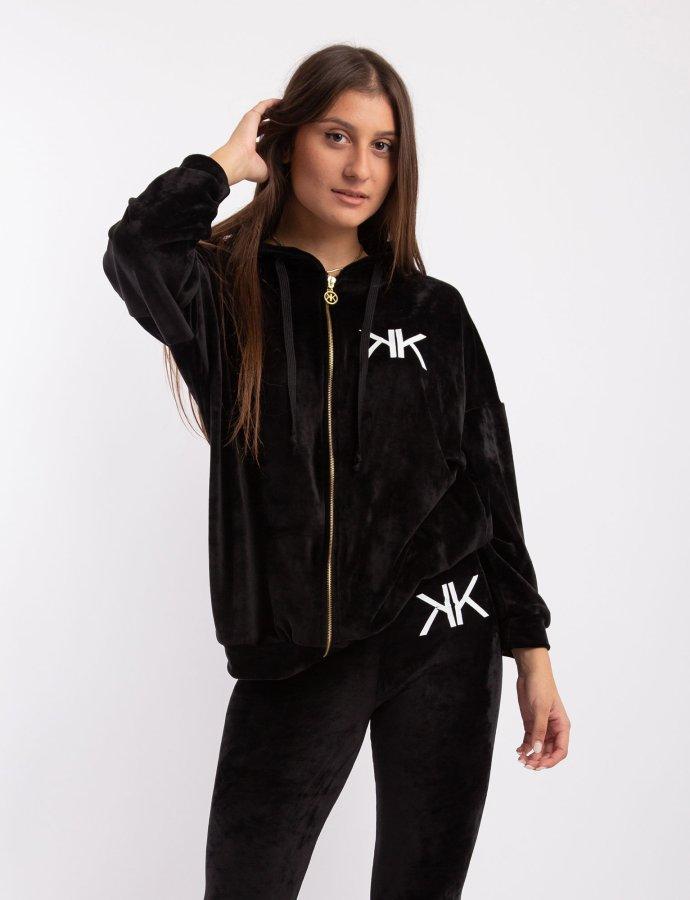 Active velvet oversized zipper hoody black