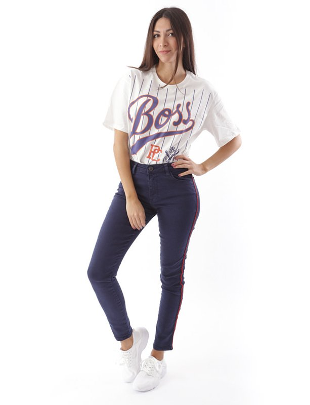 Isabel navy blue band trousers