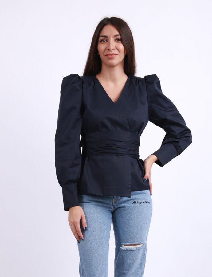 Navy blue wrap shirt