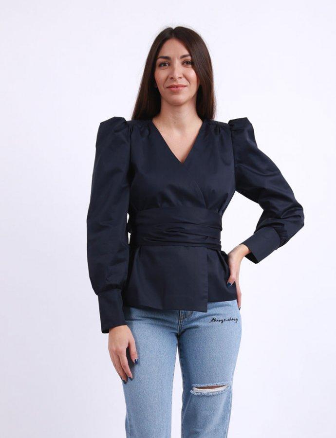 Navy blue wrap shirt