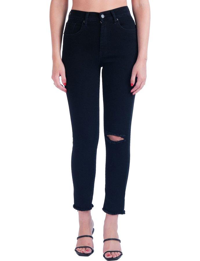 Kate black S/W ripped denim pants
