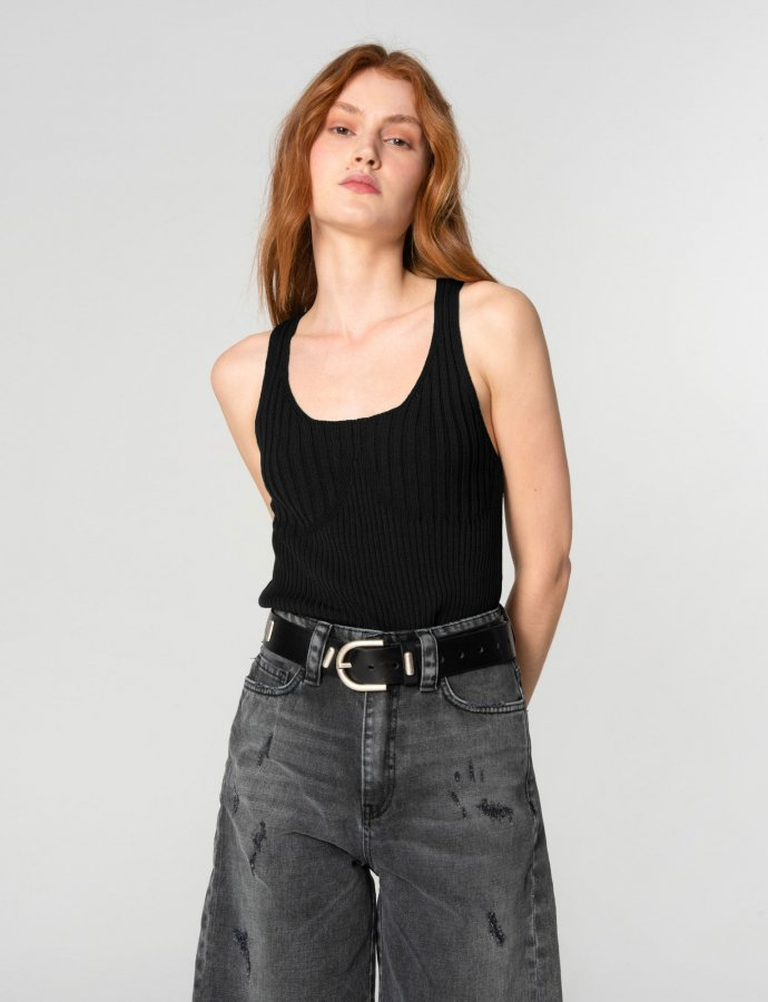 Tribes of knit top black
