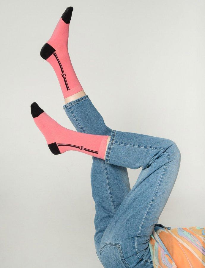Lines n logo socks pink
