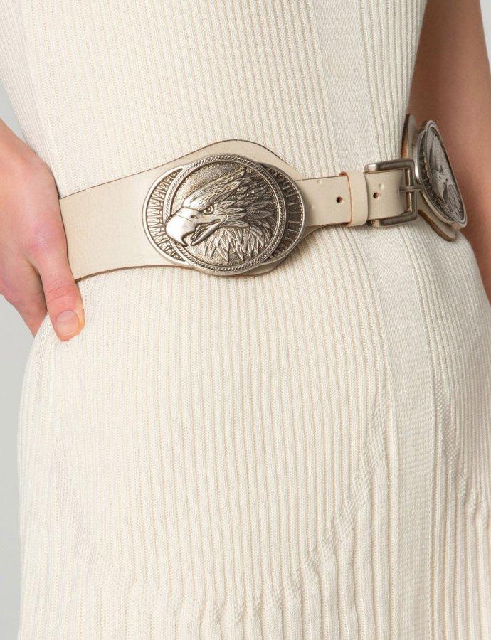 Eagle pattern belt beige