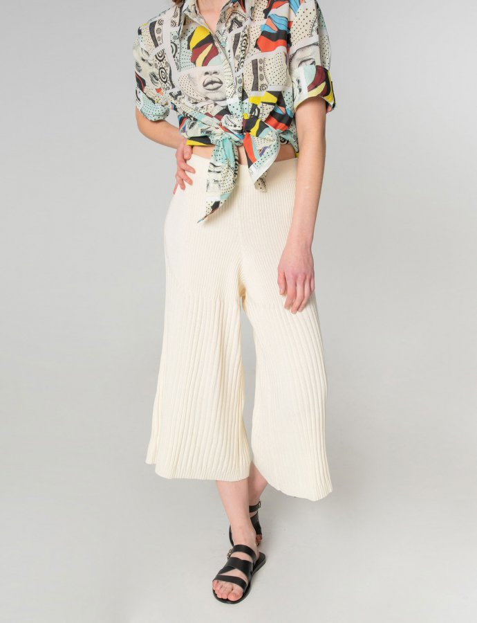 Tribes of knit pants off white