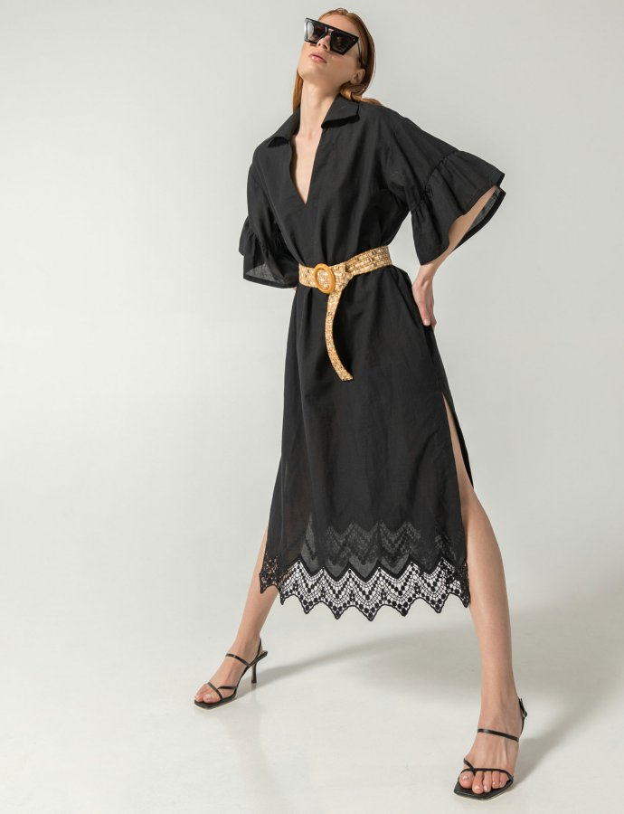 Merit midi kaftan dress black