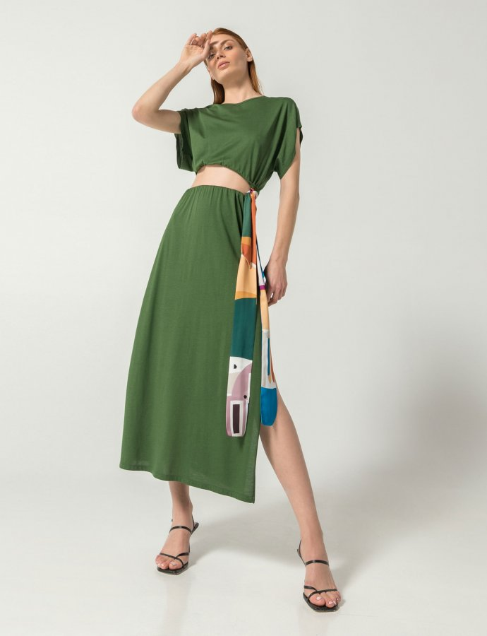 Atene co-ords 2 in 1 dress green